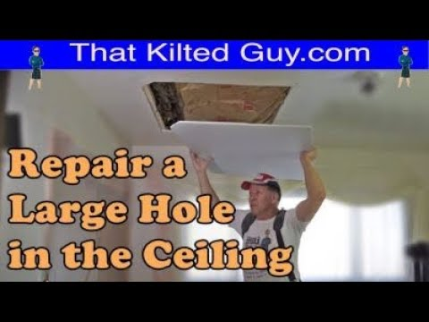 Learn to Repair a Large Hole in a Drywall Ceiling like the pros do