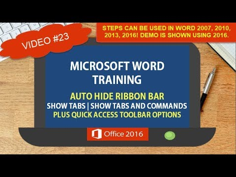 MICROSOFT WORD AUTO HIDE RIBBON | SHOW TABS AND COMMANDS | QUICK ACCESS TOOLBAR OPTIONS #23