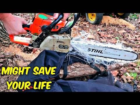 Do Chainsaw Safety Chaps Actually Work? (Slow Mo)