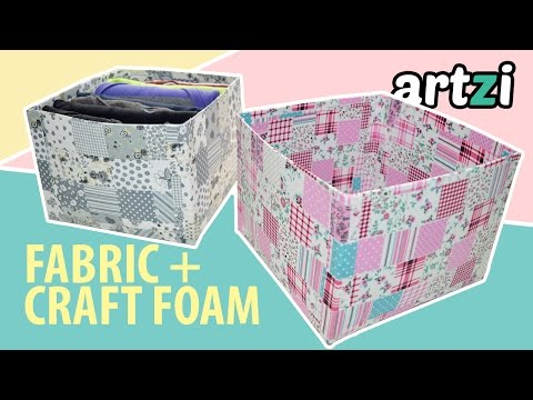 DIY Storage Box made with Fabric and Craft Foam