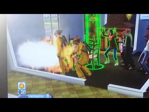 Sims 3 birthday cake catched on fire.