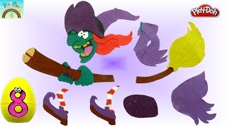 Play Doh art ( Witch flying on her broom) for kids surprise eggs opening