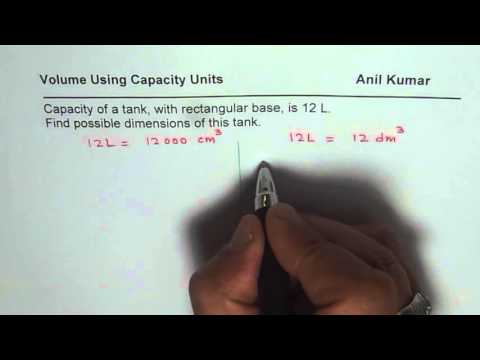 Determine dimensions of tank with capacity of 12 Litres