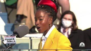 Inaugural poet Amanda Gorman delivers a poem at Joe Biden