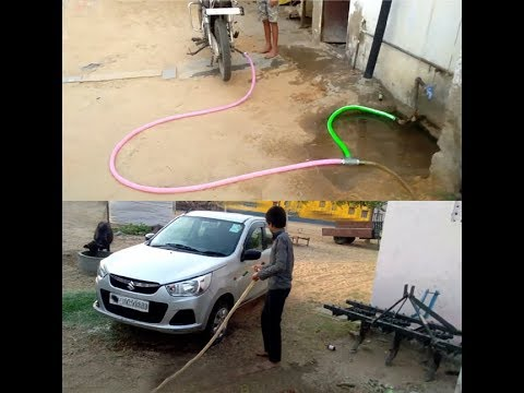 Make a water pressure pump with motorcycle silencer latest technology