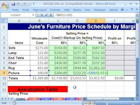 Excel 2013 tutorial how to calculate gross profit margin and.