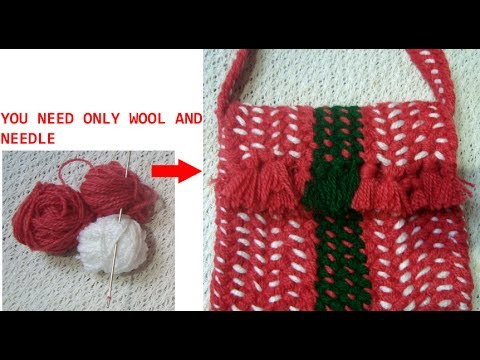 Recycle old wool and needle to make this handmade bag /purse/pouch/best out of waste