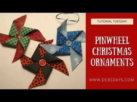 Make Pinwheel Christmas Ornaments from Fabric and Buttons