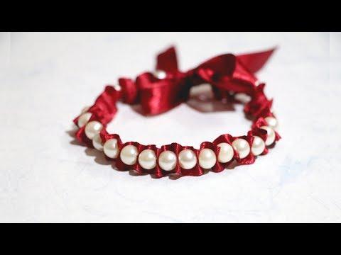 EASY! DIY Friendship Bracelet | How to Make | Ribbon & Pearl Bracelet | Little Crafties
