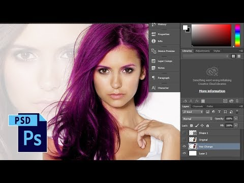 Changing Hair Color in Photoshop (Nina Dobrev)
