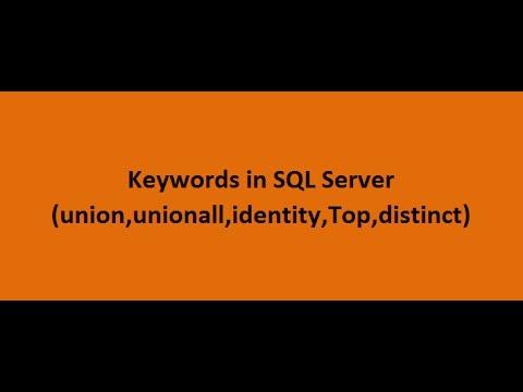 Keywords in SQL Server