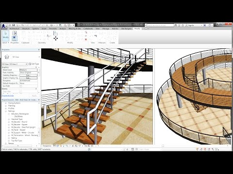 BIM - Revit Stairs Tutorial 01 Curve Staircase, Curve Railings and Modern Stairs