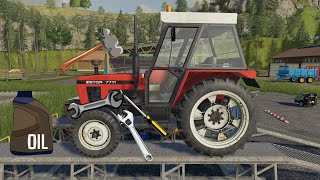 Tractor in the Workshop With Oil Change - Plowing, Sowing and Mowing Wheat | Farmer simulation ls19