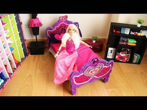 How to make a BARBIE DOLL BED - Tutorial- Doll Crafts - simplekidscrafts