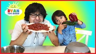 Real Food vs Gummy Food Challenge! Kid React to gross candy world
