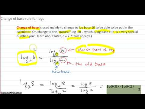 Change of base rule for logs and examples