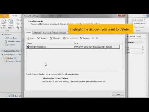 How to delete an email account in Outlook 2010