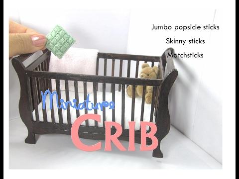DIY Baby Crib (Sleigh) Dollhouse Furniture  Miniature Tutorial