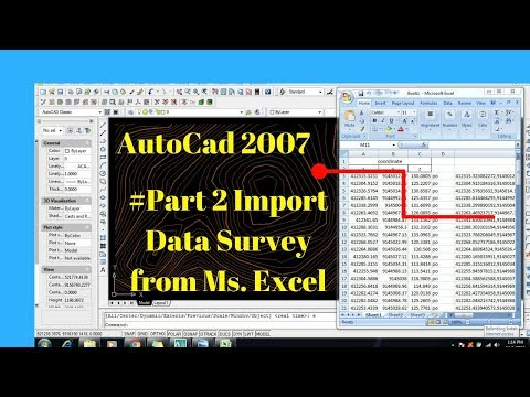 Autocad 2007 #Part 2 Import Data Survey From Microsoft Excel