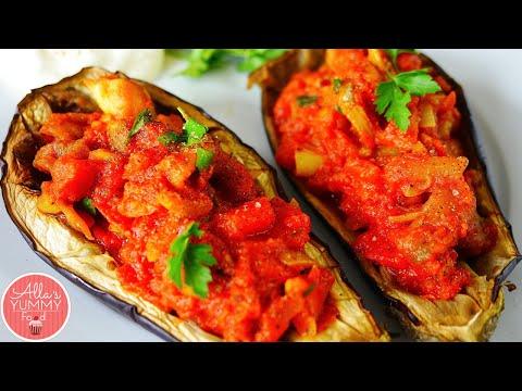 Stuffed Eggplant/Aubergine Recipe (Baked Eggplant) - Фаршированные баклажаны
