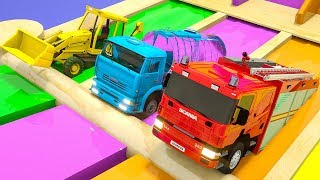 Download Learn Colors Monster Construction Vehicle, Water Tank and Magic Slide for Kids Children Video