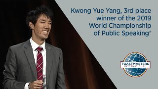 Kwong Yue Yang, 3rd place winner of the 2019 World Championship of Public Speaking®.