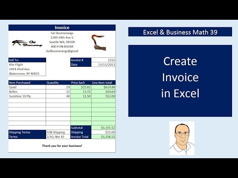 Excel & Business Math 39: Create Excel Invoices, Data Validation Drop-down, VLOOKUP & IF Functions