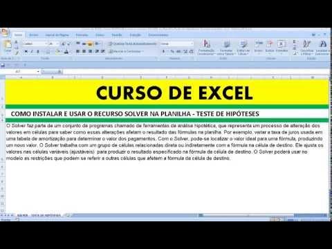 Curso de EXCEL Como INSTALAR e usar o recurso SOLVER na Planilha Teste de Hipóteses Ejemplo práctico