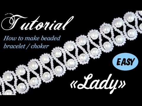 Tutorial: Beaded choker with pearls (Wedding style) / Чокер из бисера и жемчуга