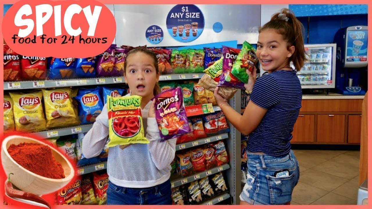 SPICY FOOD ONLY FOR 24 HOURS CHALLENGE | LAST TO DRINK WATER WIN | SISTER FOREVER