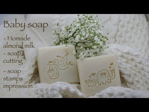 Baby soap with homemade almond milk - soap cutting - Saop stamping