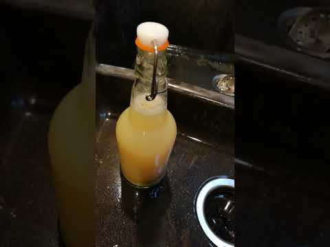 Water kefir mixed with pineapple juice on the second ferment