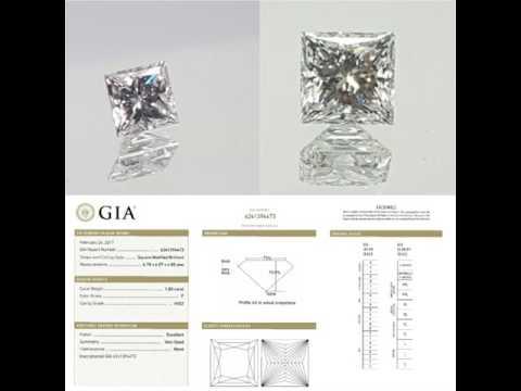 Princess cut Diamond  GIA Certificate. F vvs2.  1.80 ct