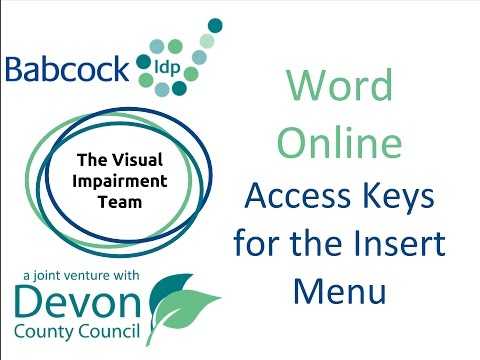 Word Online: Access Keys For The Insert Menu