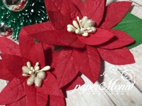 Foamiran poinsettias with use of moulds and stencils