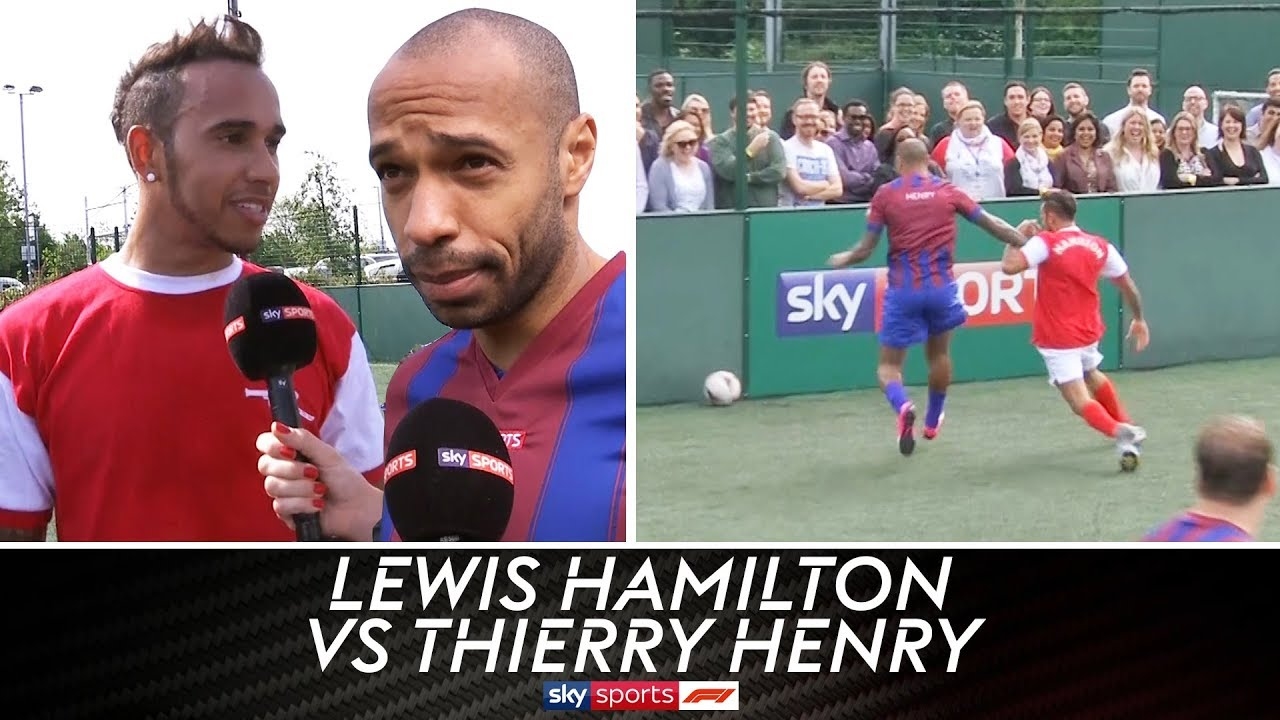 Lewis Hamilton vs Thierry Henry & Jamie Carragher   5-A-Side Football Grudge Match!