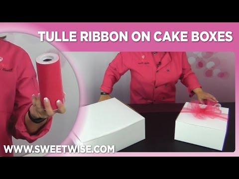 Tulle Ribbon On Cake Boxes by www SweetWise com