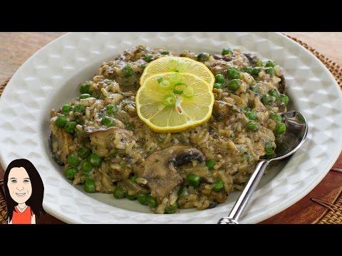 Cheaters 12 Minute Pea & Mushroom Risotto - Dairy Free Vegan Recipe!