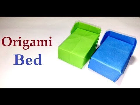 How to make Bed with Bedding Origami - Paper craft DIY   paper bedroom   origami bed easy - crafts