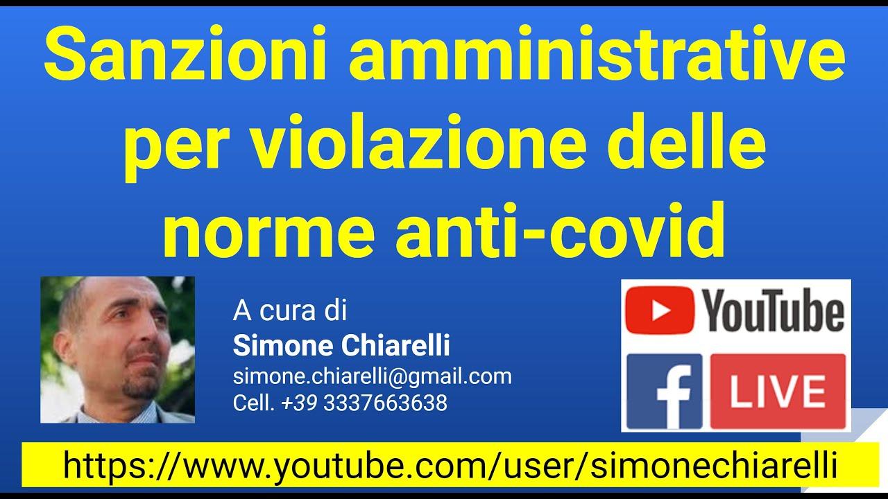 Sanzioni amministrative per violazione delle norme anti-covid (15/11/2020)