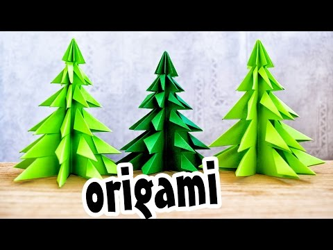 Origami Christmas TREE made of paper without GLUE