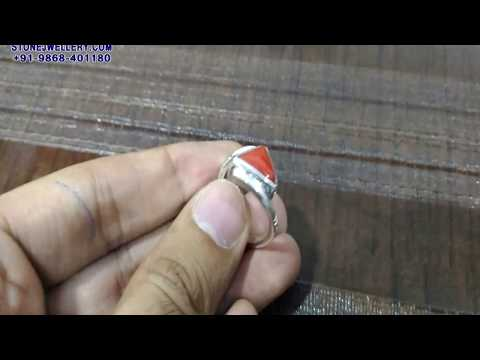 5.25 Ratti Triangle Moonga Coral Silver Ring | StoneJwellery | +91-9868-401180