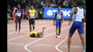 FINAL LONDON 4X100M RELAY 2017 USAIN BOLT INJURED AND LOOSE HIS LAST RACE EVER  BRITAIN GOLD