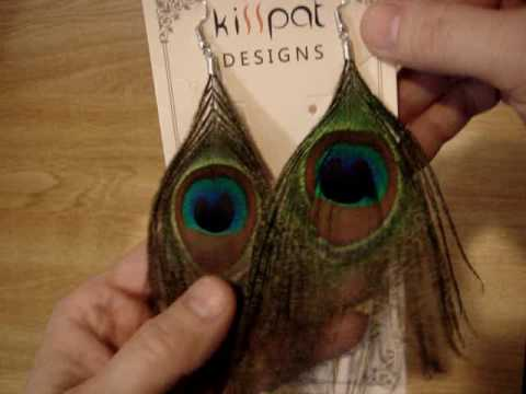 Handmade Peacock Feather Earrings