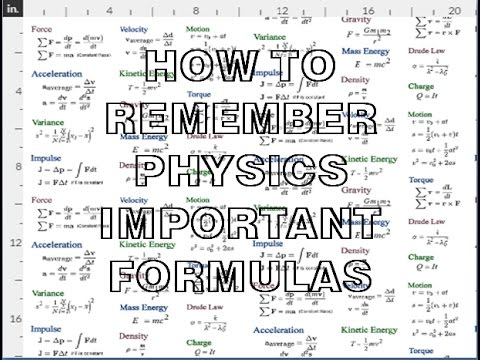 physics important formulae trick