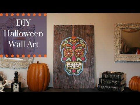 Easy Halloween DIY Sugar Skull Stencil Art  Decoration