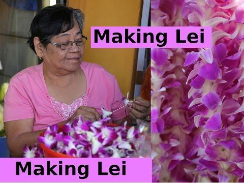 The art of making Hawaiian Lei, China Town Honolulu