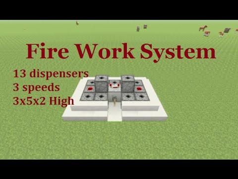 Minecraft Tutorial : Firework System 13 dispensers 3x5x2 Blocks High