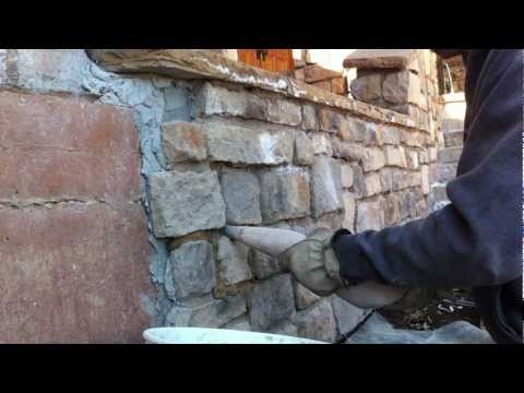 How to use a grout bag Grouting veneer stone Part 1