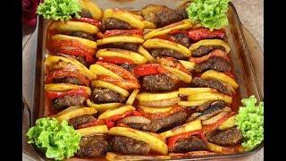 صينية كفتة مع البطاطا في الفرن اكلة سهلة ولذيذة وسريعة مع رباح محمد ( الحلقة 400 )